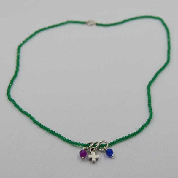 Collar miniaturas Cruz con piedras